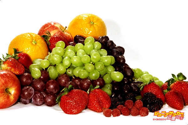 Fruits and Vegetables: Grapes, oranges, strawberries, apples