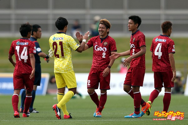 SAGAMIHARA, JAPAN - MAY 10:  (EDITORIAL USE ONLY) FC Ryukyu players celebrate their 1-0 win after the J.League third division match between SC Sagamihara and FC Ryukyu at Gion Stadium on May 10, 2015 in Sagamihara, Kanagawa, Japan.  (Photo by Kaz Photography/Getty Images)