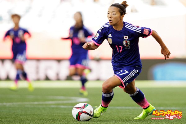 WINNIPEG, MB - JUNE 16:  Yuki Ogimi of Japan in action during the FIFA Women's World Cup 2015 Group C match between Ecuador and Japan at Winnipeg Stadium on June 16, 2015 in Winnipeg, Canada.  (Photo by Adam Pretty - FIFA/FIFA via Getty Images)