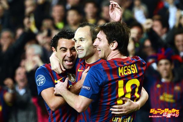 BARCELONA, SPAIN - APRIL 03:  Andres Iniesta (C) of FC Barcelona celebrates scoring with his teammates Lionel Messi (R) and Xavi Hernandez during the Champions League quarter-final second leg match between FC Barcelona and AC Milan at the Camp Nou stadium on April 3, 2012 in Barcelona, Spain.  (Photo by Jasper Juinen/Getty Images)
