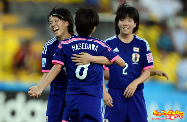 LIBERIA, COSTA RICA - MARCH 27:  Hina Sugita of Japan celebrates her goal during the FIFA U-17 Women's World Cup Quarter Final match between Japan and Mexico at Edgardo Baltodano Briceno on March 27, 2014 in Liberia, Costa Rica.  (Photo by Jamie McDonald - FIFA/FIFA via Getty Images)