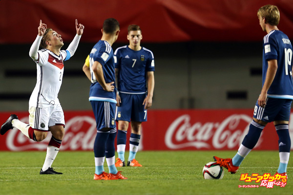CHILLAN, CHILE - OCTOBER 21:  Felix Passlack of Germany celebrates his team's third goal as Tomas Conechny, Gianluca Mancuso and Matias Roskopf (L-R) of Argentina react during the FIFA U-17 World Cup Chile 2015 Group C match between Argentina and Germany at Estadio Nelson Oyarzun Arenas on October 21, 2015 in Chillan, Chile.  (Photo by Alex Grimm - FIFA/FIFA via Getty Images)