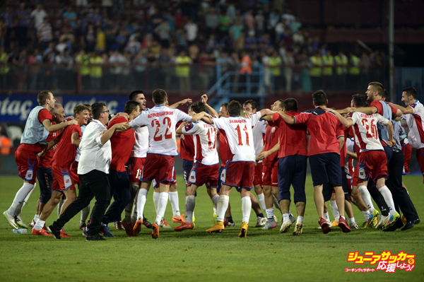 TRABZON, TURKEY - AUGUST 6:  Players of Rabotnicki celebrate after scoring a goal during the UEFA Europa League 3rd qualifying round second leg match between Trabzonspor and Rabotnicki at Huseyin Avni Aker Stadium in Trabzon, Turkey on August 6, 2015. (Photo by Hakan Burak Altunoz/Anadolu Agency/Getty Images)