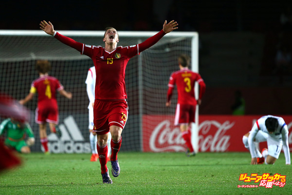 LA SERENA, CHILE - OCTOBER 28:  Jorn Vancamp of Belgium celebrates after they defeated Korea Republic during the FIFA U17 World Cup round of 16 match between Korea Republic and Belgium at Estadio La Portada on October 28, 2015 in La Serena, Chile.  (Photo by Robert Cianflone - FIFA/FIFA via Getty Images)