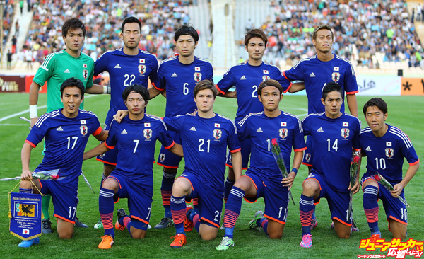 TEHRAN, IRAN - OCTOBER 13:  Japanese players poses for team photo during the international friendly match between Iran and Japan at Azadi Stadium on October 13, 2015 in Tehran, Iran.  (Photo by Amin M. Jamali/Getty Images)
