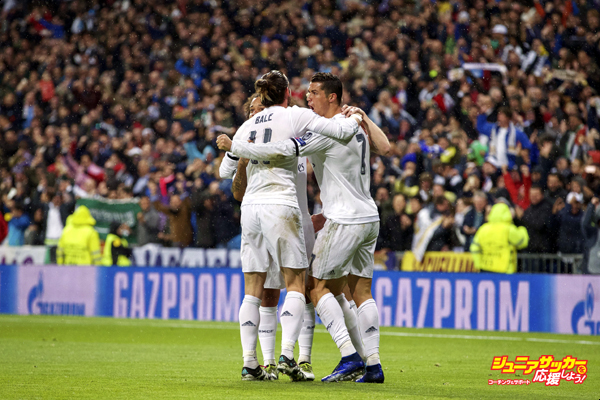 (L-R) Marcelo of Real Madrid, Gareth Bale of Real Madrid, Toni Kroos of Real Madrid, Cristiano Ronaldo of Real Madrid during the UEFA Champions League quarter-final match between  Real Madrid and VfL Wolfsburg on April 12, 2016 at the Santiago Bernabeu stadium in Madrid, Spain.(Photo by VI Images via Getty Images)