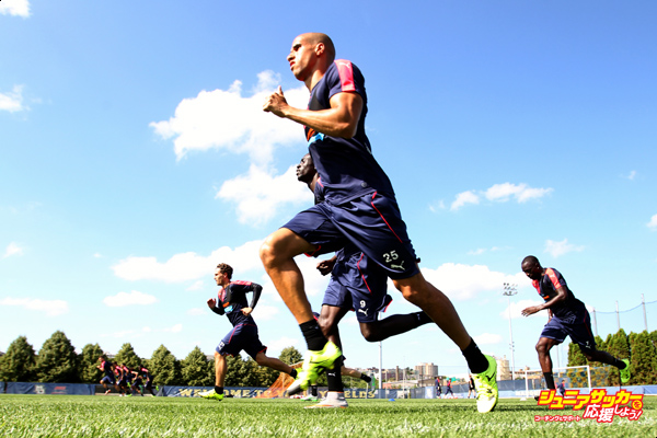 MILWAUKEE, WI - JULY 13: Gabriel Obertan #25 of the Newcastle United runs through some drills during practice at Marquette University Valley Fields on July 13, 2015, in Milwaukee, Wisconsin. (Photo by Mike McGinnis/Newcastle United via Getty Images)
