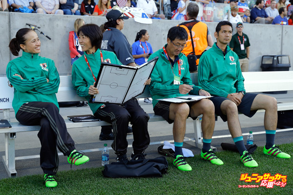 COMMERCE CITY, CO - JUNE 02:  Head coach Asako Takakura (L) of Japan and her coaching staff prepare to lead their team against the United States of America during an international friendly match at Dick's Sporting Goods Park on June 2, 2016 in Commerce City, Colorado. Japan and the United States played to a 3-3 draw.  (Photo by Doug Pensinger/Getty Images)