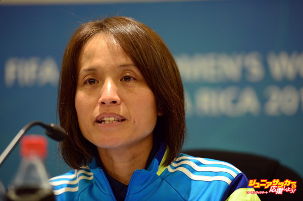 SAN JOSE, COSTA RICA - APRIL 03:  Coach of Japan Asako Takemoto Takakura talks to the media during a FIFA U17 World Cup press conference at the Hotel Intercontinental on April 3, 2014 in San Jose, Costa Rica.  (Photo by Jamie McDonald - FIFA/FIFA via Getty Images)