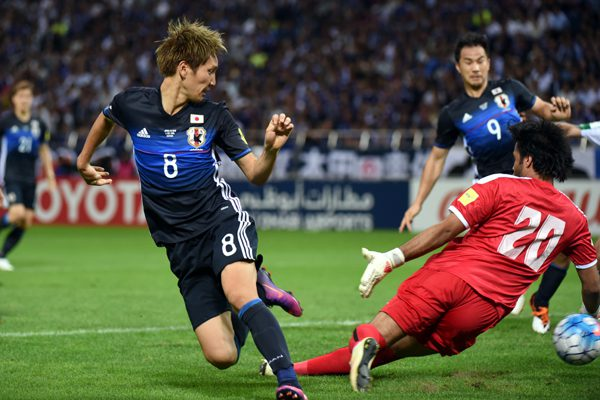 SAITAMA, JAPAN - OCTOBER 06: Genki Haraguchi of Japan scores the opener during the 2018 FIFA World Cup Qualifiers match between Japan and Iraq at Saitama Stadium on October 6, 2016 in Saitama, Japan.  (Photo by Kaz Photography/Getty Images)