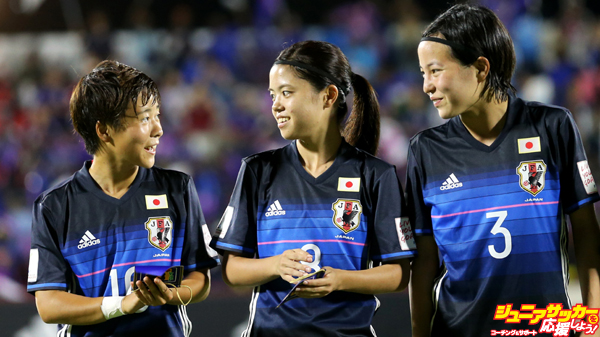 Port Moresby, PNG - NOVEMBER 13: Yuka Momiki #10 of Japan talks with Yui Hasegawa #8 and Hikaru Kitagawa #3 before their Group B match against Nigeria of the FIFA U-20 Women's World Cup Papua New Guinea 2016 on November 13, 2016 at Bava Park in Port Moresby, Papua New Guinea.