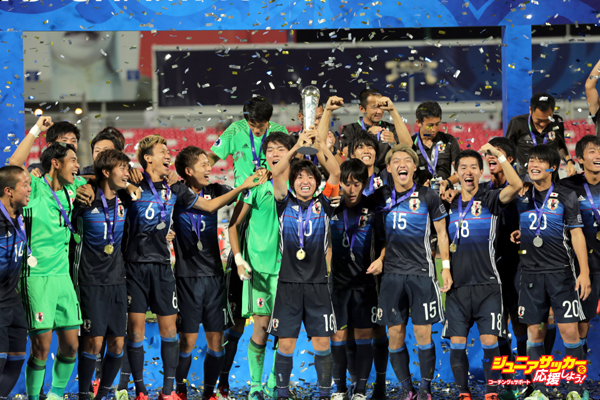 MANAMA, BAHRAIN - OCTOBER 30: Football players of Japan celebrate the victory at the end of the Asian Under-19 Championship football match between Japan and Saudi Arabia at the National Stadium in Manama, Bahrain on October 30, 2016.  (Photo by Ayman Yaqoob/Anadolu Agency/Getty Images)