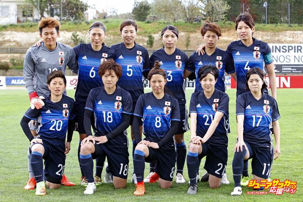 PARCHAL, PORTUGAL - MARCH 3rd: Initial team of Japan Women (Back L-R) Ayaka Yamashita, Rumi Utsugi, Yuri Kawamura, Aya Sameshima, Mina Tanaka, Saki Kumagai (Front L-R) Kumi Yokoyama, Kaede Nakamura, Sonoko Chiba, Hikaru Kitagawa, Yui Hasegawa during the match between Japan v Iceland - Women's Algarve Cup on March 3rd 2017 in Parchal, Portugal. (Photo by Ricardo Nascimento/Getty Images)