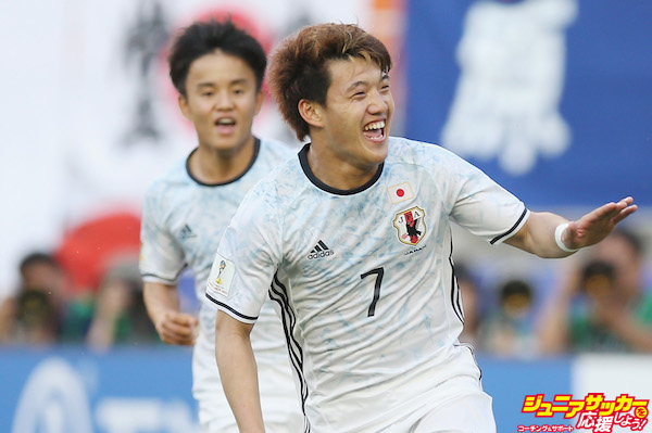 SUWON, SOUTH KOREA - MAY 21:  Ritsu Doan of Japan celebrates after scoring their second goal during the FIFA U-20 World Cup Korea Republic 2017 group D match between South Africa and Japan at Suwon World Cup Stadium on May 21, 2017 in Suwon, South Korea.  (Photo by Alex Morton - FIFA/FIFA via Getty Images)