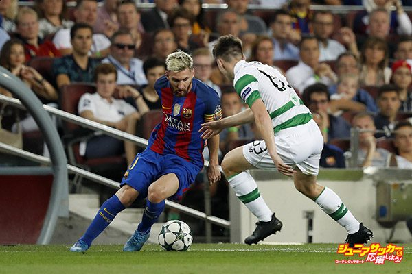 (L-R) Lionel Messi of FC Barcelona, Kieran Tierney of Celtic FCduring the UEFA Champions League group C match between FC Barcelona and Celtic on September 13, 2016 at the Camp Nou stadium in Barcelona, Spain.(Photo by VI Images via Getty Images)