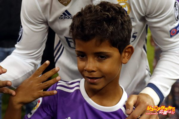 CARDIFF, WALES - JUNE 03: Cristiano Ronaldo of Real Madrid and his son Cristiano Ronaldo Jr. are seen during the UEFA Champions League Final between Juventus and Real Madrid at National Stadium of Wales on June 3, 2017 in Cardiff, Wales. (Photo by Ian MacNicol/Getty Images)