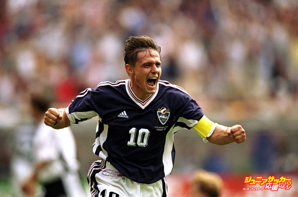 21 Jun 1998:  Yugoslavia captain Dragan Stojkovic celebrates his goal during the World Cup group F game against Germany at the Stade Felix Bollaert in Lens, France. The match ended 2-2.  Mandatory Credit: Shaun Botterill /Allsport