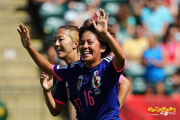 EDMONTON, AB - JUNE 27:  Mana Iwabuchi #16 of Japan celebrates with Yuki Ogimi #17 after scoring a goal during the FIFA Women's World Cup Canada 2015 quarter final match between Japan and Australia at Commonwealth Stadium on June 27, 2015 in Edmonton, Alberta, Canada.  (Photo by Maddie Meyer - FIFA/FIFA via Getty Images)