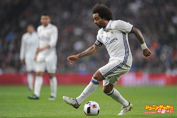 MADRID, SPAIN - JANUARY 04:  Marcelo of Real Madrid in action during the Copa del Rey Round of 16 First Leg match between Real Madrid and Sevilla  at Bernabeu on January 4, 2017 in Madrid, Spain.  (Photo by Denis Doyle/Getty Images)