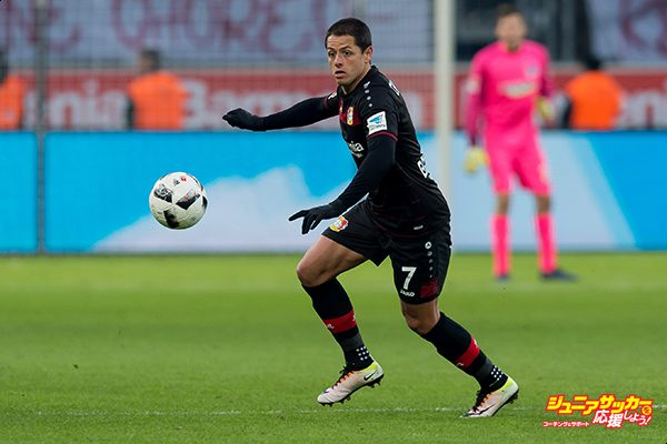 LEVERKUSEN, GERMANY - JANUARY 22: Javier Hernandez Chicharito of Leverkusen in action during the Bundesliga match between Bayer 04 Leverkusen and Hertha BSC at BayArena on January 22, 2017 in Leverkusen, Germany. (Photo by TF-Images/Getty Images)