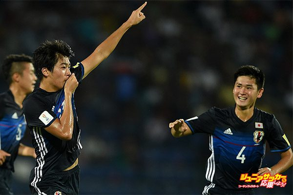 GUWAHATI, INDIA - OCTOBER 08: Keito Nakamura of Japan celebrates scoring the opening goal during the FIFA U-17 World Cup India 2017 group E match between Honduras and Japan at Indira Gandhi Athletic Stadium on October 8, 2017 in Guwahati, India.  (Photo by Tom Dulat - FIFA/FIFA via Getty Images)