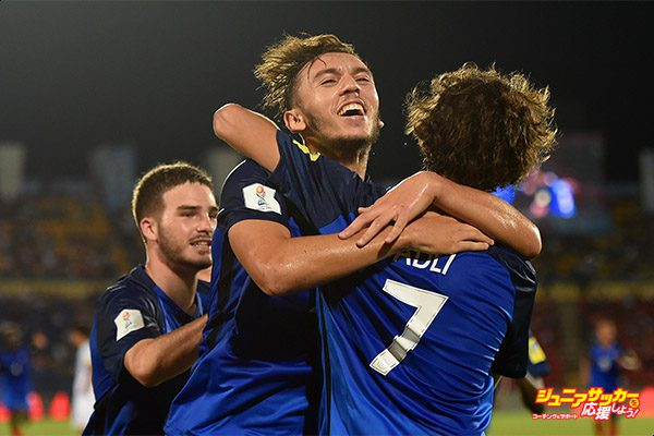 GUWAHATI, INDIA - OCTOBER 11:  Amine Gouiri of France celebrates scoring a goal during the FIFA U-17 World Cup India 2017 group E match between France and Japan at Indira Gandhi Athletic Stadium on October 11, 2017 in Guwahati, India.  (Photo by Tom Dulat - FIFA/FIFA via Getty Images)