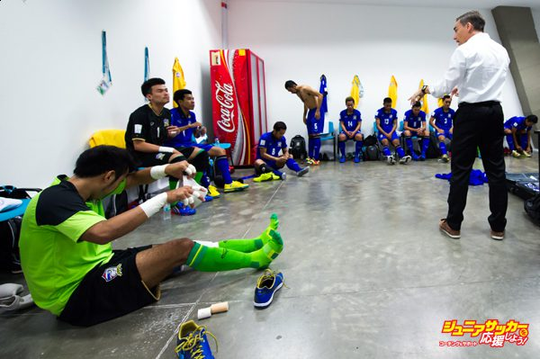 MEDELLIN, COLOMBIA - SEPTEMBER 16:  Head Coach Miguel Rodrigo of Thailand gives instructions to his players in the dressing room before the FIFA Futsal World Cup Group B match between Egypt and Thailand at Coliseo Ivan de Bedout stadium on September 16, 2016 in Medellin, Colombia.  (Photo by Alex Caparros - FIFA/FIFA via Getty Images)