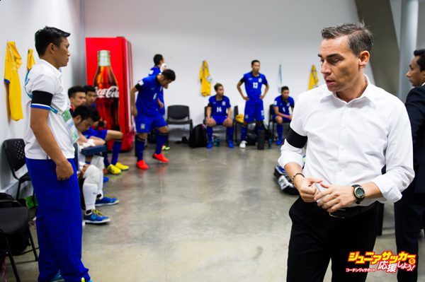 MEDELLIN, COLOMBIA - SEPTEMBER 22: Head Coach Miguel Rodrigo (R) of Thailand looks on in the dressing room before the FIFA Futsal World Cup Round of 16 match between Thailand and Azerbaijan at Coliseo Ivan de Bedout stadium on September 22, 2016 in Medellin, Colombia. (Photo by Alex Caparros - FIFA/FIFA via Getty Images)