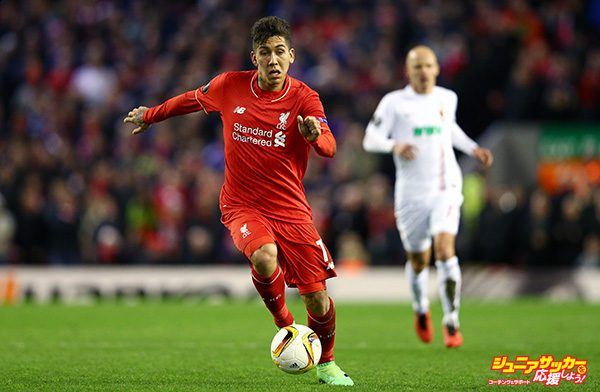 LIVERPOOL, ENGLAND - FEBRUARY 25:  Roberto Firmino of Liverpool in action during the UEFA Europa League Round of 32 second leg match between Liverpool and FC Augsburg at Anfield on February 25, 2016 in Liverpool, United Kingdom.  (Photo by Clive Brunskill/Getty Images)