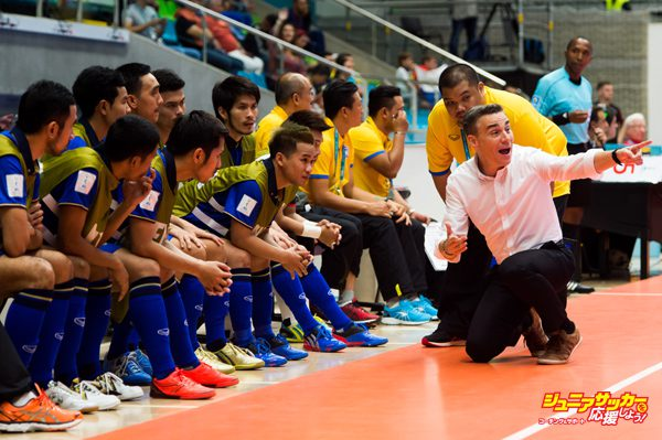 MEDELLIN, COLOMBIA - SEPTEMBER 10:  Head Coach Miguel Rodrigo of Thailand gives instructions during the FIFA Futsal World Cup Group B match between Thailand and Russia at Coliseo Ivan de Bedout stadium on September 10, 2016 in Medellin, Colombia.  (Photo by Alex Caparros - FIFA/FIFA via Getty Images)