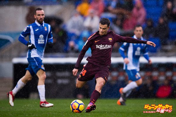 BARCELONA, SPAIN - FEBRUARY 04:  Philippe Coutinho of FC Barcelona shoots the ball during the La Liga match between Espanyol and Barcelona at RCDE Stadium on February 4, 2018 in Barcelona, Spain.  (Photo by Alex Caparros/Getty Images)