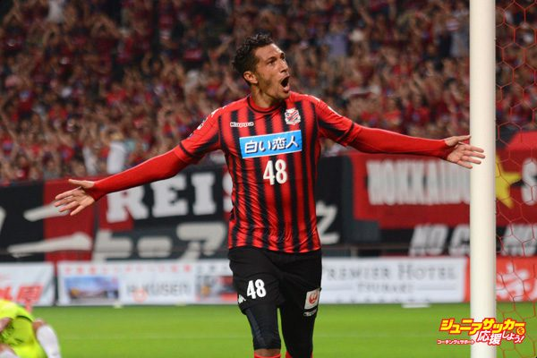 SAPPORO, JAPAN - JULY 29:  Jay Bothroyd of Consadole Sapporo celebrates scoring his side's second goal during the J.League J1 match between Consadole Sapporo and Urawa Red Diamonds at Sapporo Dome on July 29, 2017 in Sapporo, Hokkaido, Japan.  (Photo by Takashi Noguchi/Gigadesign - JL/Getty Images for DAZN)