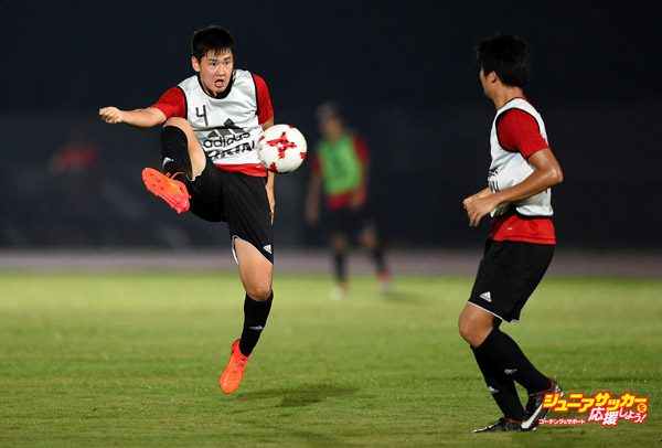 GUWAHATI, INDIA - OCTOBER 07:  Rei Hirakawa in action during Japan training session ahead of the FIFA U-17 World Cup India 2017 tournament on October 7, 2017 in Guwahati, India.  (Photo by Tom Dulat - FIFA/FIFA via Getty Images)