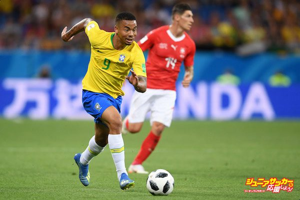 ROSTOV-ON-DON, RUSSIA - JUNE 17:  Gabriel Jesus of Brazil runs with the ball during the 2018 FIFA World Cup Russia group E match between Brazil and Switzerland at Rostov Arena on June 17, 2018 in Rostov-on-Don, Russia.  (Photo by Laurence Griffiths/Getty Images)