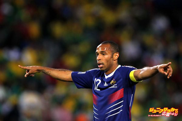 BLOEMFONTEIN, SOUTH AFRICA - JUNE 22:  Thierry Henry of France gestures to team mates during the 2010 FIFA World Cup South Africa Group A match between France and South Africa at the Free State Stadium on June 22, 2010 in Mangaung/Bloemfontein, South Africa.  (Photo by Clive Rose/Getty Images)