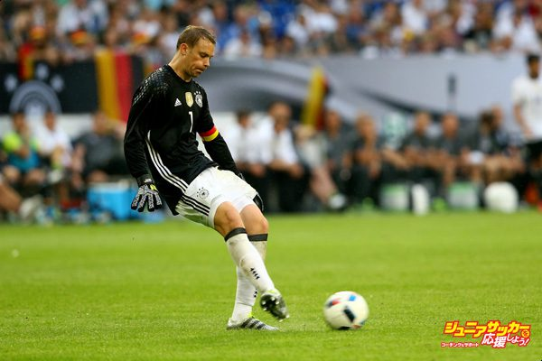 GELSENKIRCHEN, GERMANY - JUNE 04:  Manuel Neuer of Germany runs with the ball during the International Friendly match between Germany and Hungary at Veltins-Arena on June 4, 2016 in Gelsenkirchen, Germany.  (Photo by Christof Koepsel/Bongarts/Getty Images)