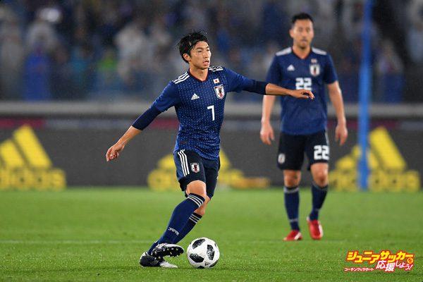 YOKOHAMA, JAPAN - MAY 30:  Gaku Shibasaki of Japan in action during the international friendly match between Japan and Ghana at Nissan Stadium on May 30, 2018 in Yokohama, Kanagawa, Japan.  (Photo by Atsushi Tomura/Getty Images)