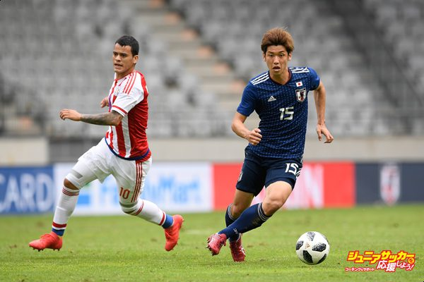 INNSBRUCK, AUSTRIA - JUNE 12:  Yuya Osako of Japan in action during the international friendly match between Japan and Paraguay at Tivoli Stadion on June 12, 2018 in Innsbruck, Austria.  (Photo by Masahiro Ura/Getty Images)