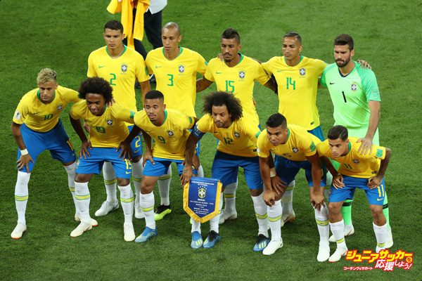 ROSTOV-ON-DON, RUSSIA - JUNE 17:  Brazil team lines up prior to the 2018 FIFA World Cup Russia group E match between Brazil and Switzerland at Rostov Arena on June 17, 2018 in Rostov-on-Don, Russia.  (Photo by Catherine Ivill/Getty Images)