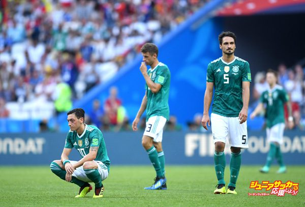 KAZAN, RUSSIA - JUNE 27:  Mesut Oezil of Germany looks dejected following his sides defeat in the 2018 FIFA World Cup Russia group F match between Korea Republic and Germany at Kazan Arena on June 27, 2018 in Kazan, Russia.  (Photo by Michael Regan - FIFA/FIFA via Getty Images)