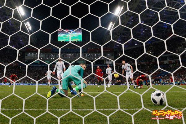 SOCHI, RUSSIA - JUNE 15:  Goalkeeper, David De Gea of Spain looks dejected after Cristiano Ronaldo of Portugal shoots past him and scores his team's second goal during the 2018 FIFA World Cup Russia group B match between Portugal and Spain at Fisht Stadium on June 15, 2018 in Sochi, Russia.  (Photo by Dean Mouhtaropoulos/Getty Images)