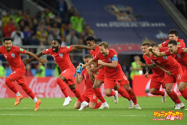 MOSCOW, RUSSIA - JULY 03:  The England players celebrate after Eric Dier of England scores the winning penalty in the penalty shoot out during the 2018 FIFA World Cup Russia Round of 16 match between Colombia and England at Spartak Stadium on July 3, 2018 in Moscow, Russia.  (Photo by Matthias Hangst/Getty Images)
