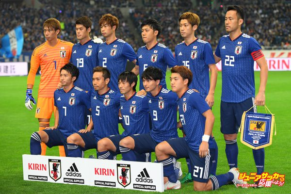 SAITAMA, JAPAN - OCTOBER 16: Japanese players line up for the team photos prior to the international friendly match between Japan and Uruguay at Saitama Stadium on October 16, 2018 in Saitama, Japan. (Photo by Atsushi Tomura/Getty Images)
