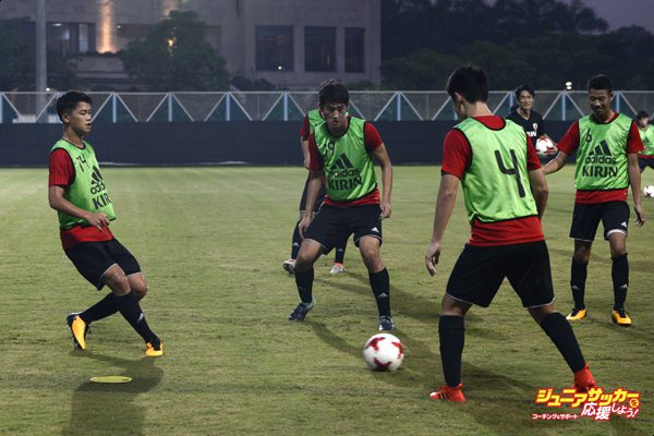 Players of the Japan football team during a practice session